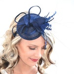 The Haleigh Navy Blue Fascinator, Tea Party Hat, Church Hat, Derby Hat, Fancy Hat, Navy Blue Hat, Tea Party Hat, wedding hat