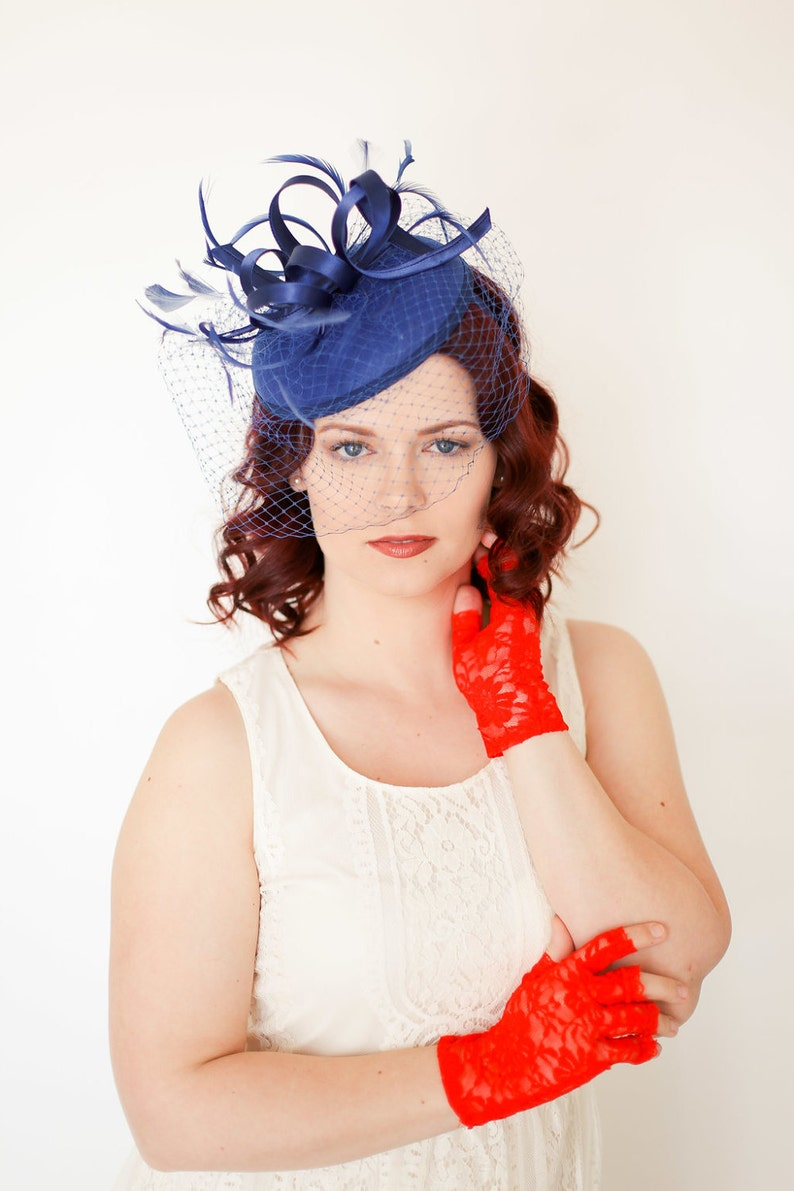 Church Hat Ivory Hat Fancy Hat Navy Blue Fascinator with Veil Derby Hat British Hat wedding hat Womens Tea Party Hat