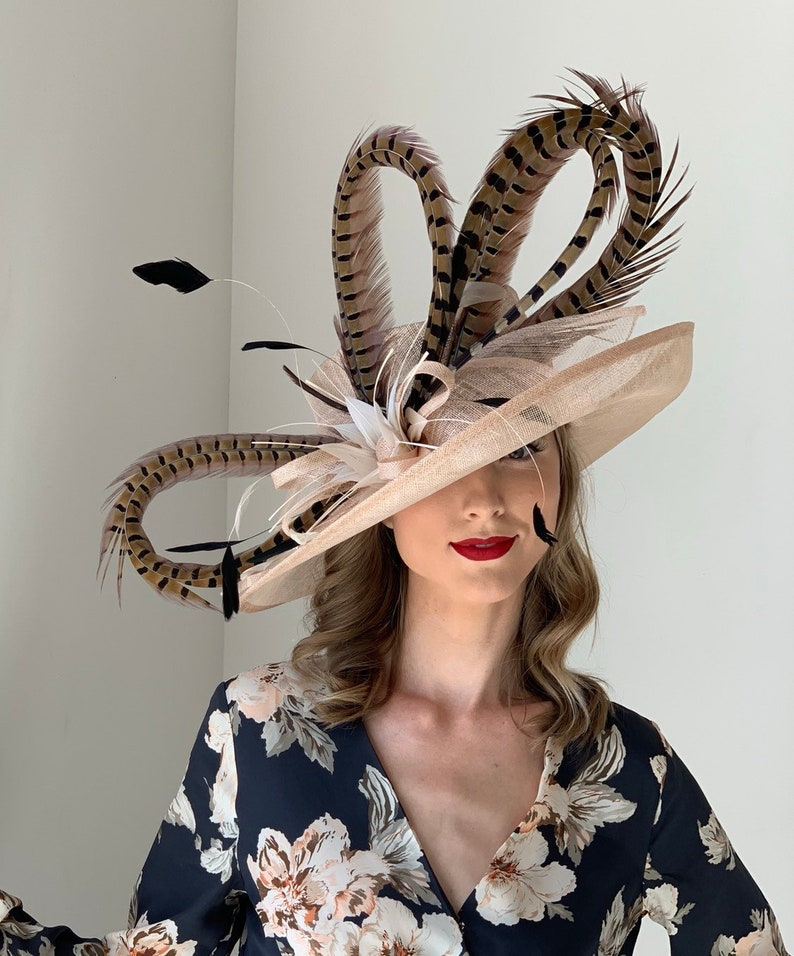eb552c05 Nude Beige Kentucky Derby Hat with large pheasant feathers | Etsy