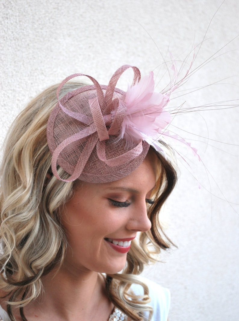 c12cea34209c4 The Haleigh Heather Pink Fascinator Tea Party Hat Church