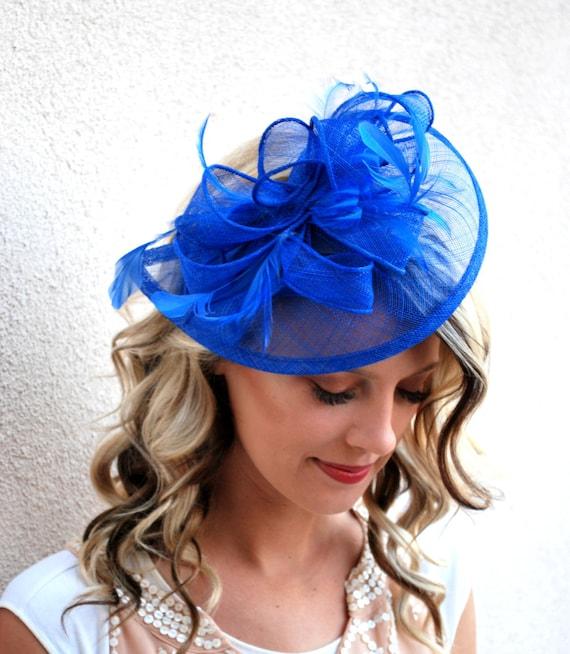 Wedding Hat Womens Tea Party Hat Church Fascinator English Hat, Kentucky Derby Hat Navy Blue Fascinator Derby Hat Church Hat