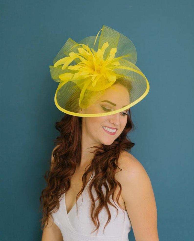 94d1d2d2de202 Yellow Fascinator The Celeste Derby Hat Wedding Hat