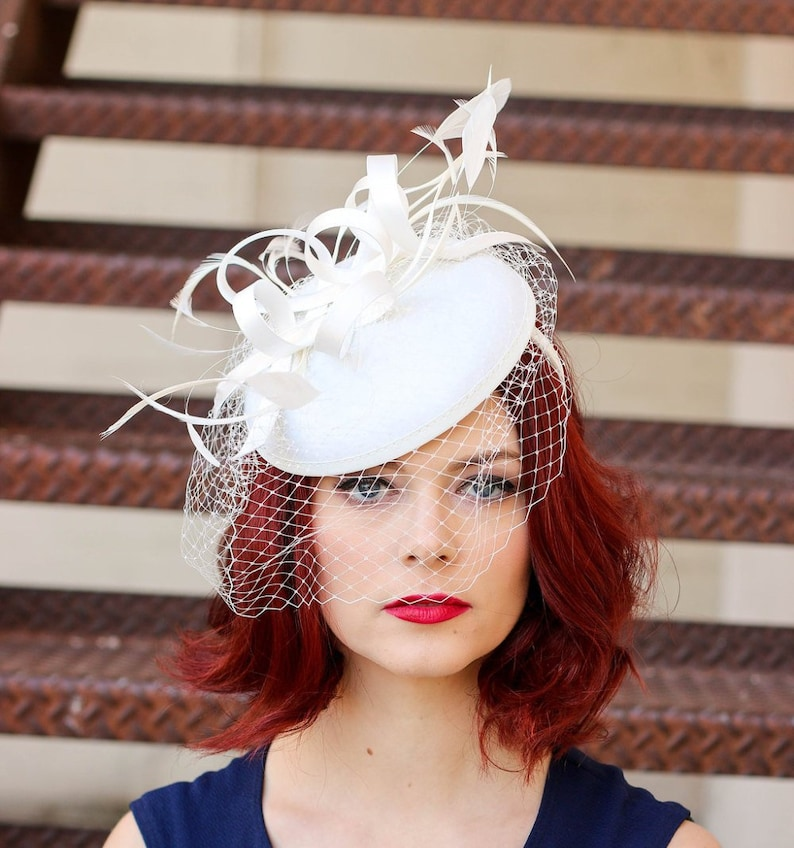 The Madelyn Fascinator light ivory Fascinator with Veil Light Ivory