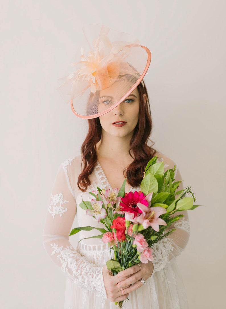 2e0534c7 Pastel Peach Fascinator Womens Tea Party Hat Hat with Veil | Etsy