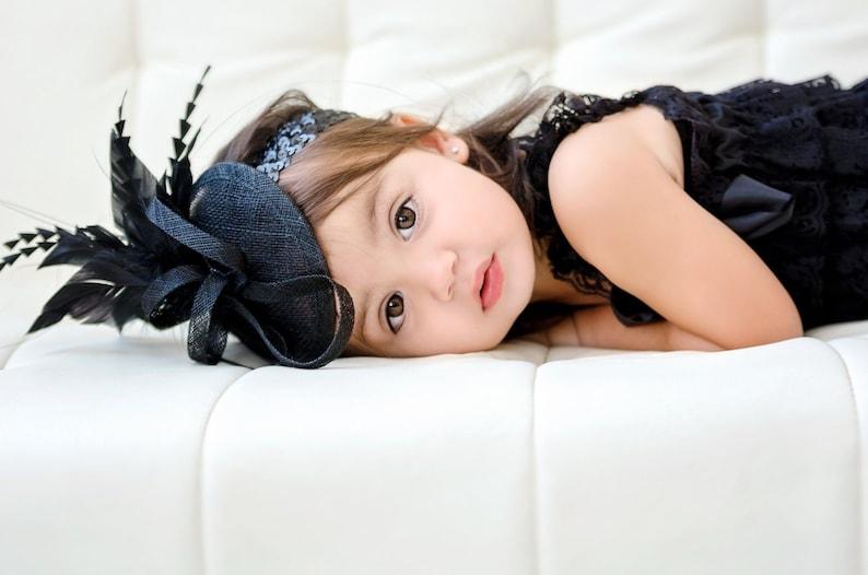 a3ef34151 Black baby/toddler Fascinator, Tea Party Hat, Church Hat, Derby Hat, Fancy  Hat, British Hat, Wedding Hat, Fascinator, womens
