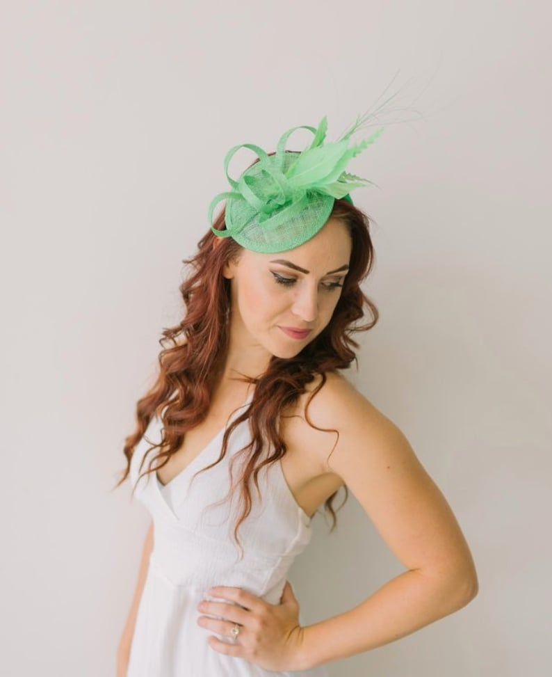 5b55c144 Kelly Green Fascinator Tea Party Hat Church Hat Derby Hat | Etsy