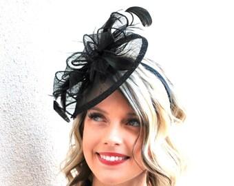 "Black Fascinator on headband, Style:""The Kenni"" Tea Party Hat, Derby Hat, Church Hat, Kentucky Derby, Fancy Hat, Tea Party Hat, wedding hat"