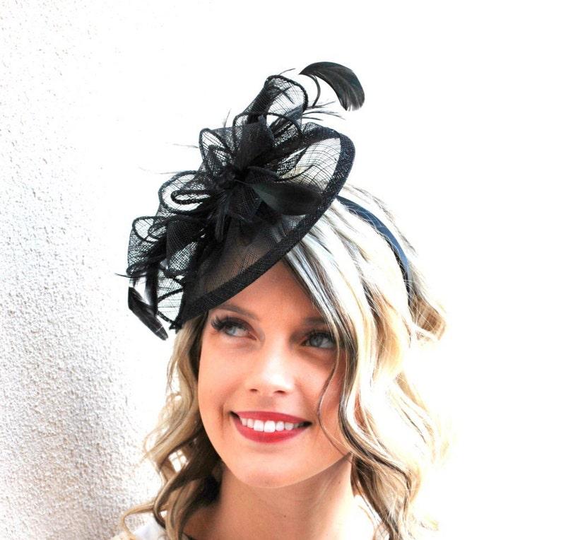 The Kenni Fascinator Black Fascinator Black Hat Womens Tea image 0