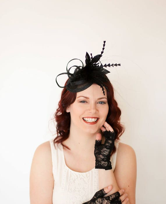 50785e8fde570 Black Fascinator Womens Tea Party Hat Church Hat Derby Hat