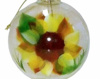 Golden Giant Sunflower Ornament. Hand Painted Clear Glass Ball. Made to Order. Signed by Artisan. FREE SHIPPING.