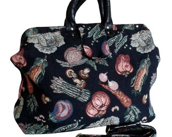 74ad0723671b SALE!!! 40% OFF. Weekender Garden Harvest Handmade Tapestry Carpet Bag on  Black Background -- Free Shipping