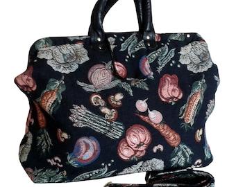 74ad0723671b SALE!!! 40% OFF. Weekender Garden Harvest Handmade Tapestry Carpet Bag on  Black Background -- Free Shipping