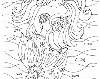 Mermaid Coloring Pages Embroidery Pattern Art