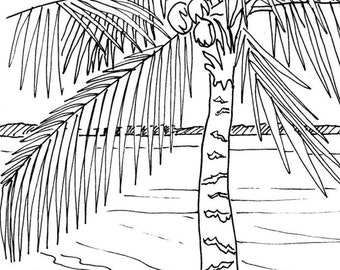 Beach Sunrise Coloring Page