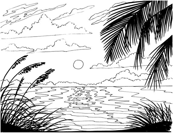 Beach Sunrise Coloring Page Embroidery Pattern Beach Art Etsy