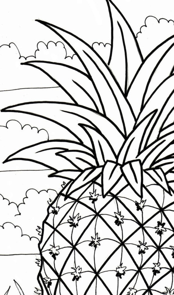 Pineapple coloring page embroidery pattern digital | Etsy