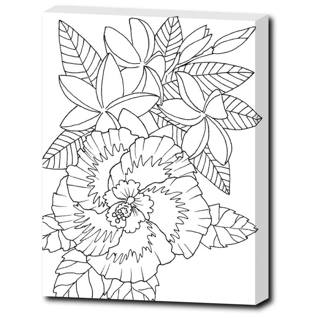 Tropical Flowers Color Coastal Art Wrapped Canvas Etsy