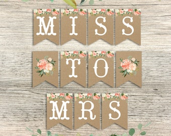 miss to mrs banner, floral bridal shower banner, bridal shower floral banner peach blush watercolor floral banner printable instant download