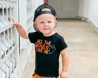 all the ghouls love me, boy Halloween shirt, ghost shirt, toddler Halloween tee, funny Halloween shirt, Halloween outfit, cute Halloween