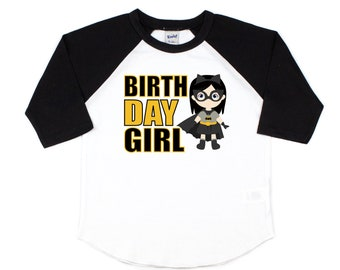 Batman Girl Birthday Shirt Superhero Party Batgirl Toddler Tee