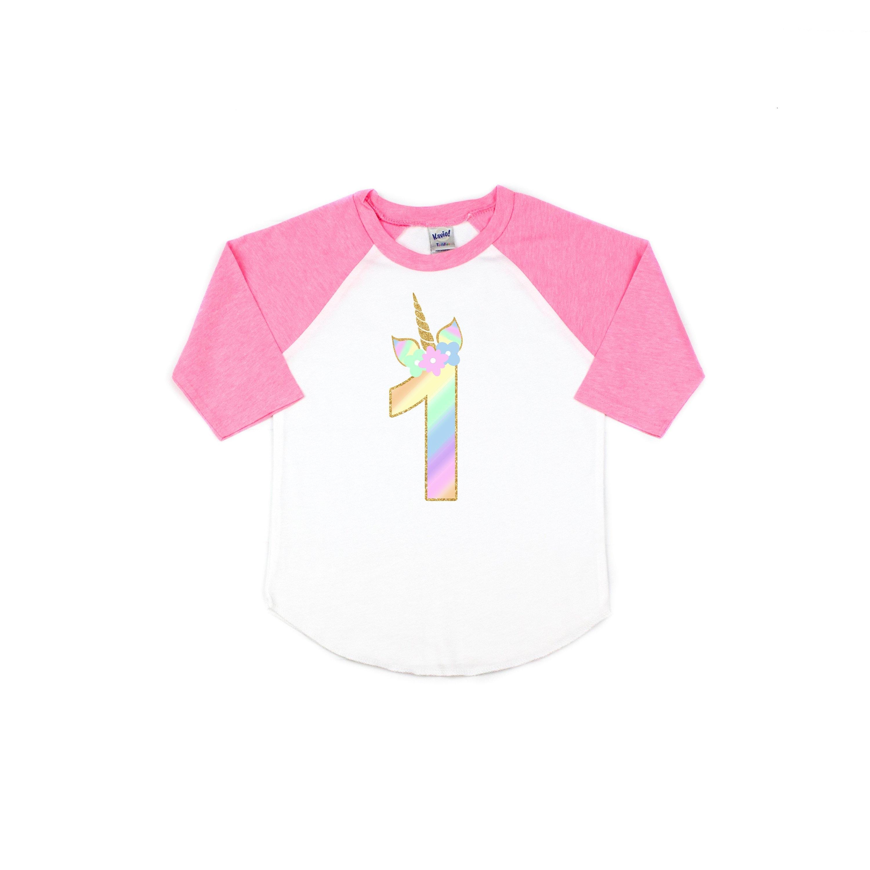 b7e9dbc47d7 Girls unicorn pink birthday shirt unicorn rainbow shirt   Etsy