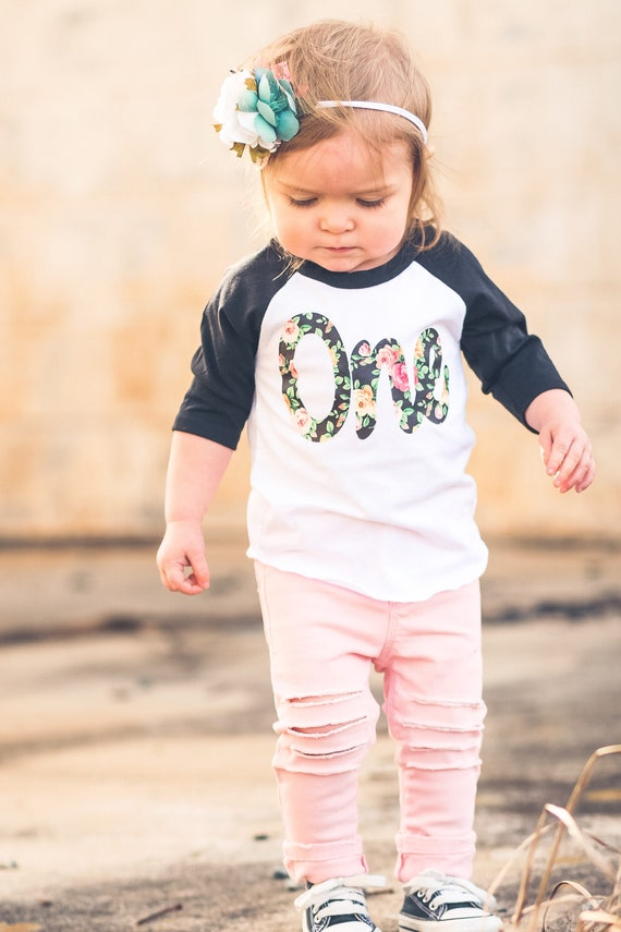 First Birthday Outfit Girl Floral Shirt