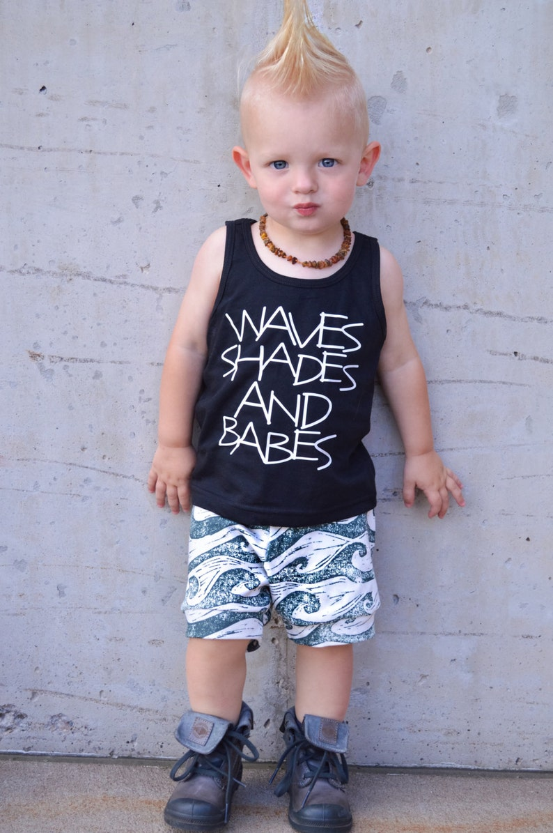 14b7eb7505a3 Waves shades and babes boys summer tank top boys graphic