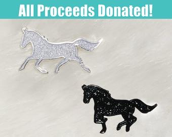 Original Starry Pegasus Hard Enamel Pins Black Glitter Glow in the Dark Winged Horse Greek mythology