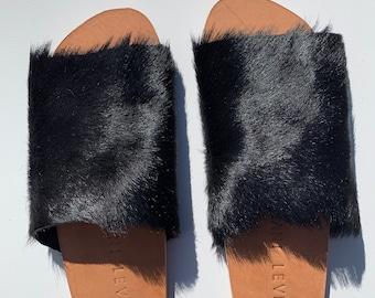 c911ba7d8f7c Custom Handmade Shani Levi Fur Hair Cowhide Slides