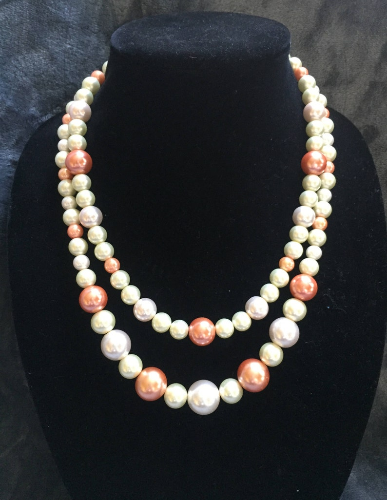 cream and pink pearl 20 inch necklace CLEARANCE Multi-strand orange