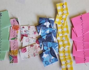 Variety set of sewn paper ribbons for Ephemera/Embellishments