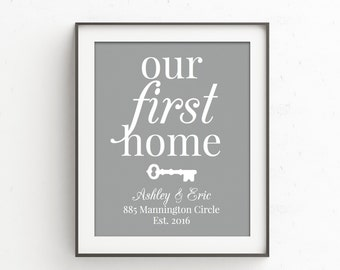 Housewarming Gift | House Number Sign with Key | OUR FIRST HOME | Personalized Housewarming Gift | New House Gift | First Home Gift