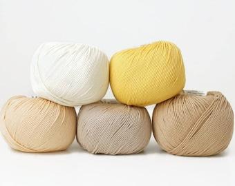 Cotton yarn, DMC Natura Just Cotton yarn, a set of 5 skeins, amirgurumi yarn, crochet thread, knitting yarn, knitting thread, crochet thread