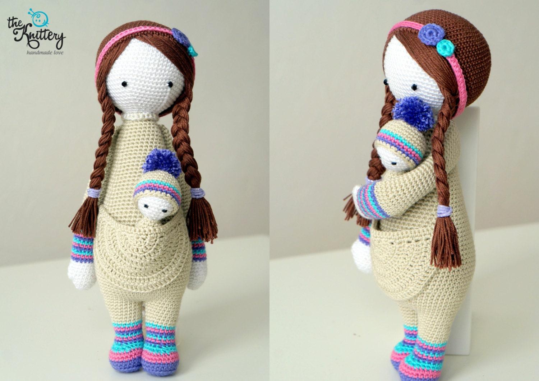 Muñeca de crochet con bebé cabello en trenzas y accesorios | Etsy