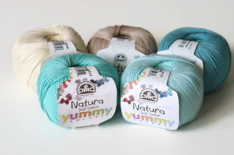 Blue 50g Ball DMC Natura 100/% Cotton 4 Ply Crochet /& Knitting Yarn Colour 05