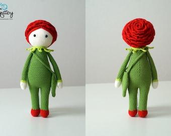 Crochet doll / Handmade doll / Rose Roxy by Zabbez / Flower doll / Crochet toy / Gift for toddler/child / Cute toddler children girl toy