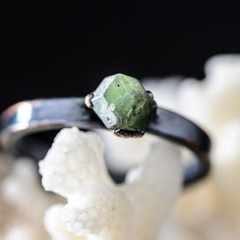 raw crystal ring with green garnet plated copper unique gift for women and girls Electroformed Stone Jewelry