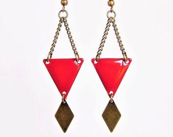 Red enamel triangle and diamond brass earrings