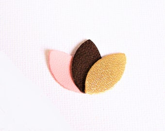 Brooch, petals, leather, pink, Brown, iridescent and gold