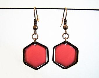 Coral pink Hexagon enamelled sequin earrings