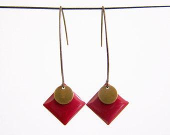 Red Burgundy enameled diamond earrings