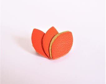 Gold Leather piping and orange petals brooch