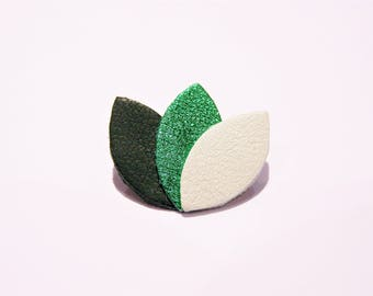 Metallic brooch leather dark green, green and pale almond Green