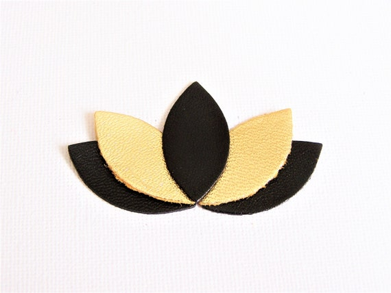 Brooch Lotus Petals Leather Large Black Gold Women Gift Etsy