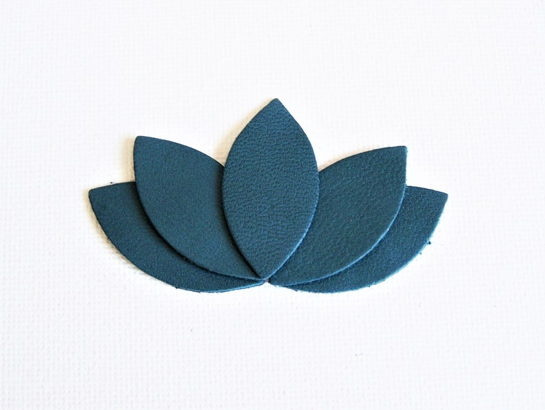 Brooch Lotus Petals Leather Large Blue Duck Women Gift Etsy