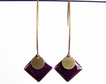 Dark purple enameled diamond earrings