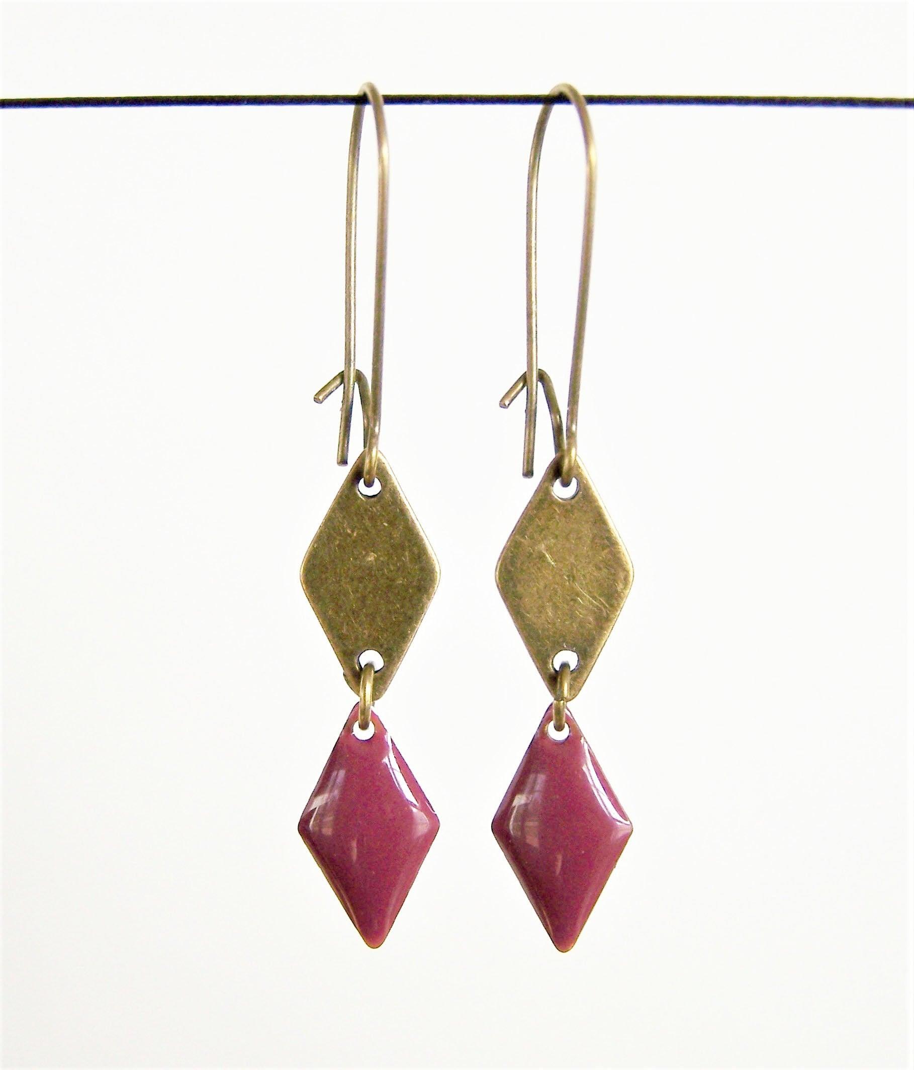 Brass diamond shape and raspberry purple enameled diamond