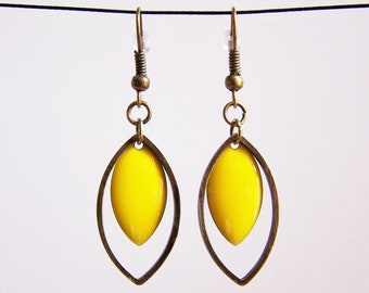 Brass ring and lemon yellow enameled sequin earrings