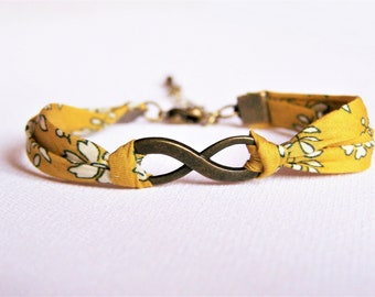 Bracelet infinity, liberty, fantasy, friendship gift wife and friend, cord, bracelet, mustard yellow