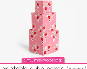 "Small printable cube shape boxes ""Aglaé"", 3 sizes, download, Aglae,"